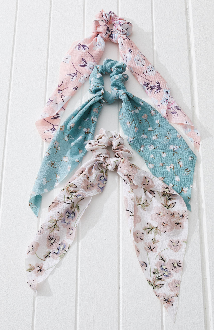 cathy pastel floral mini scarf scrunchie hair tie set