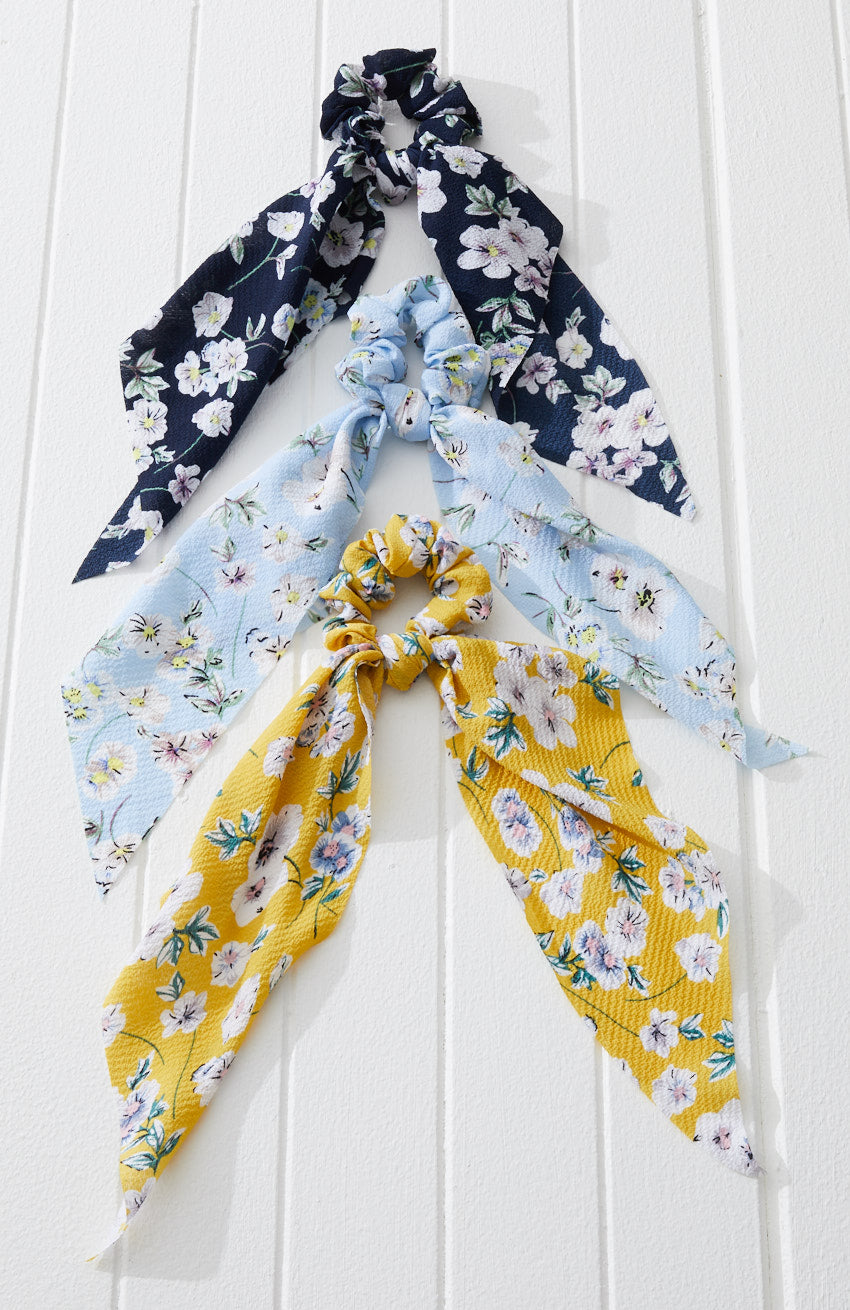 daisy vintage floral scarf scrunchies hair tie set