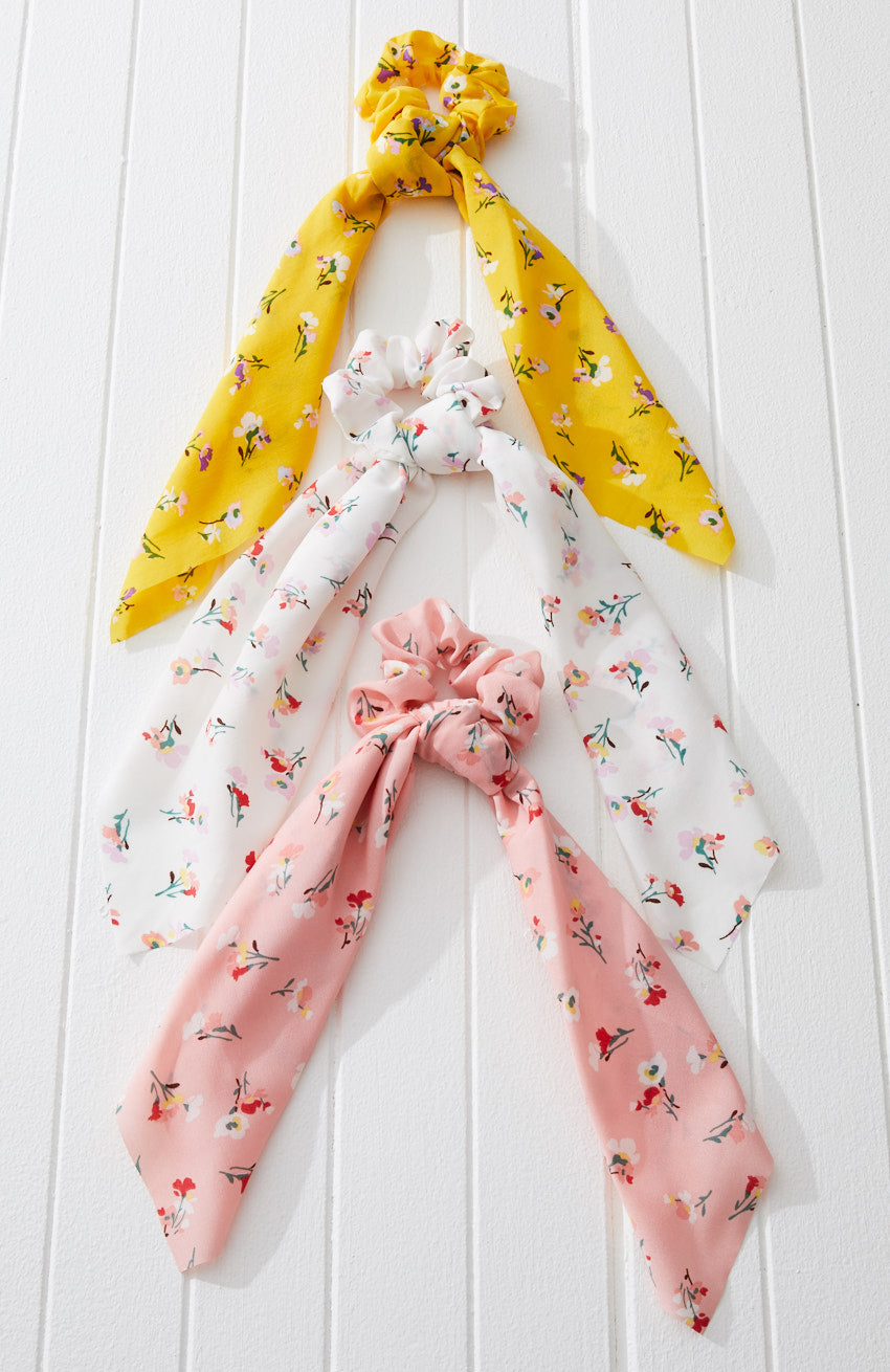 floral knot pastel mini scarf scrunchie hair tie set