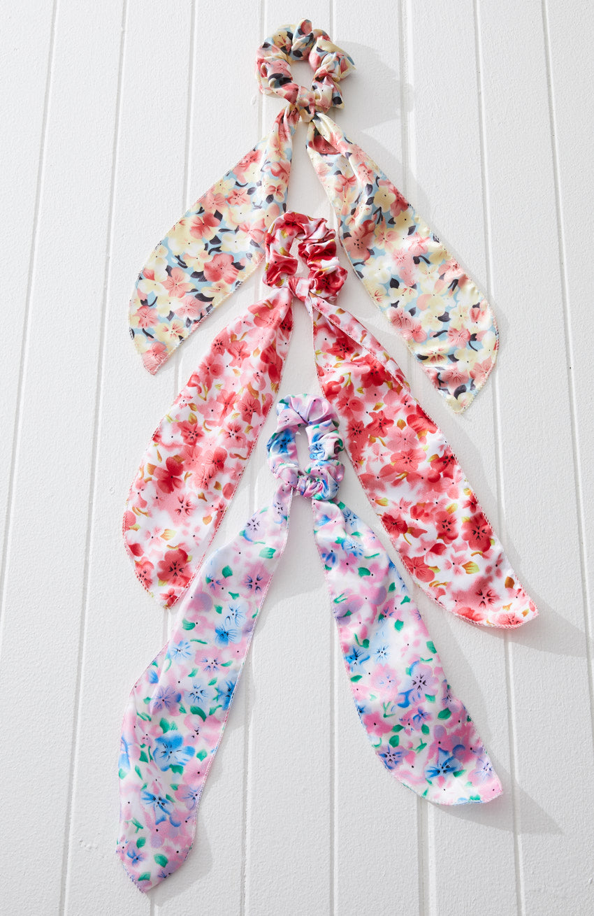 mary rainbow floral tropical scarf scrunchies hair tie set