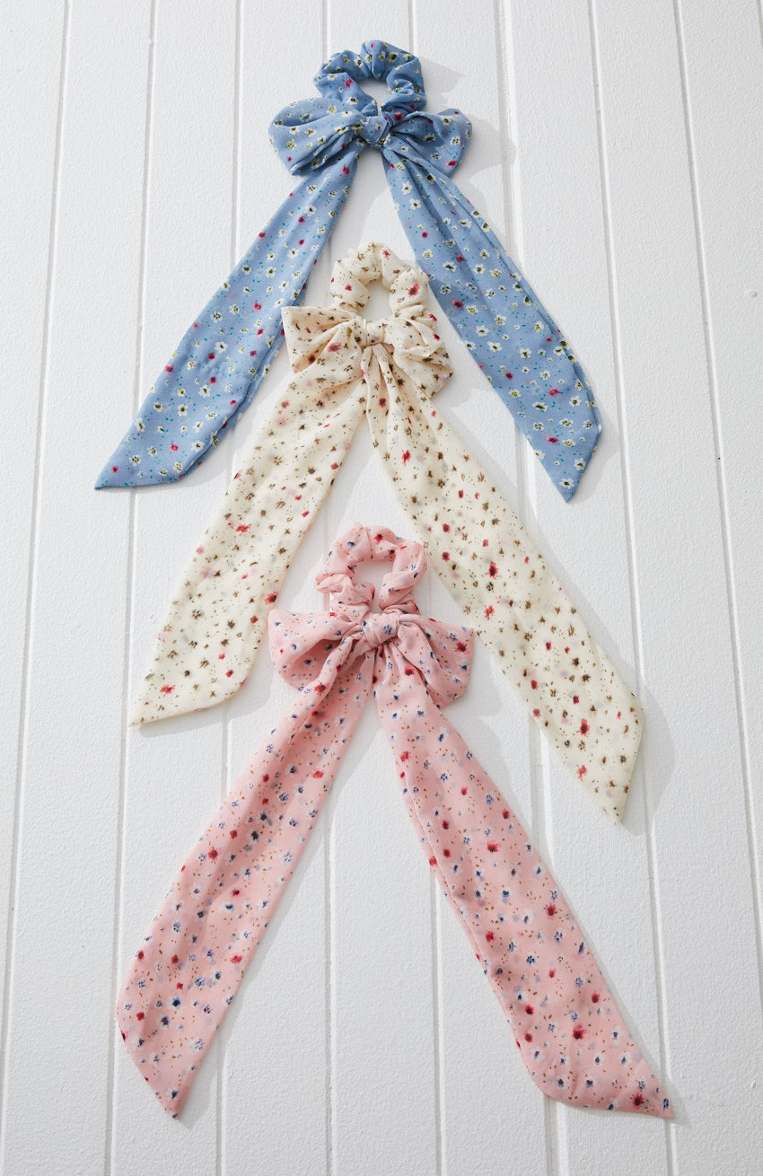 floral bow pastel scarf scrunchie set