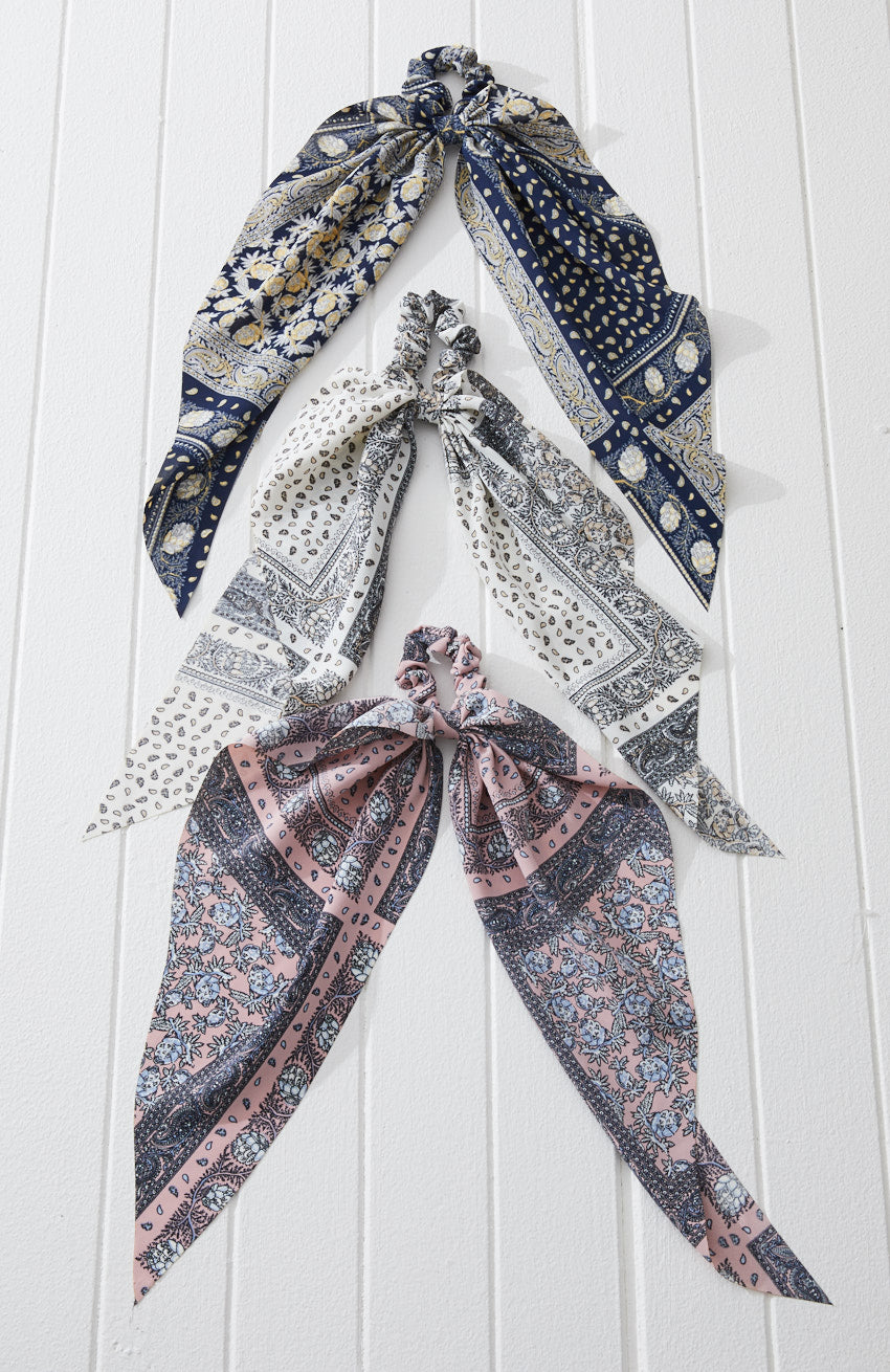 florence paisley print boho scarf scrunchies hair tie set