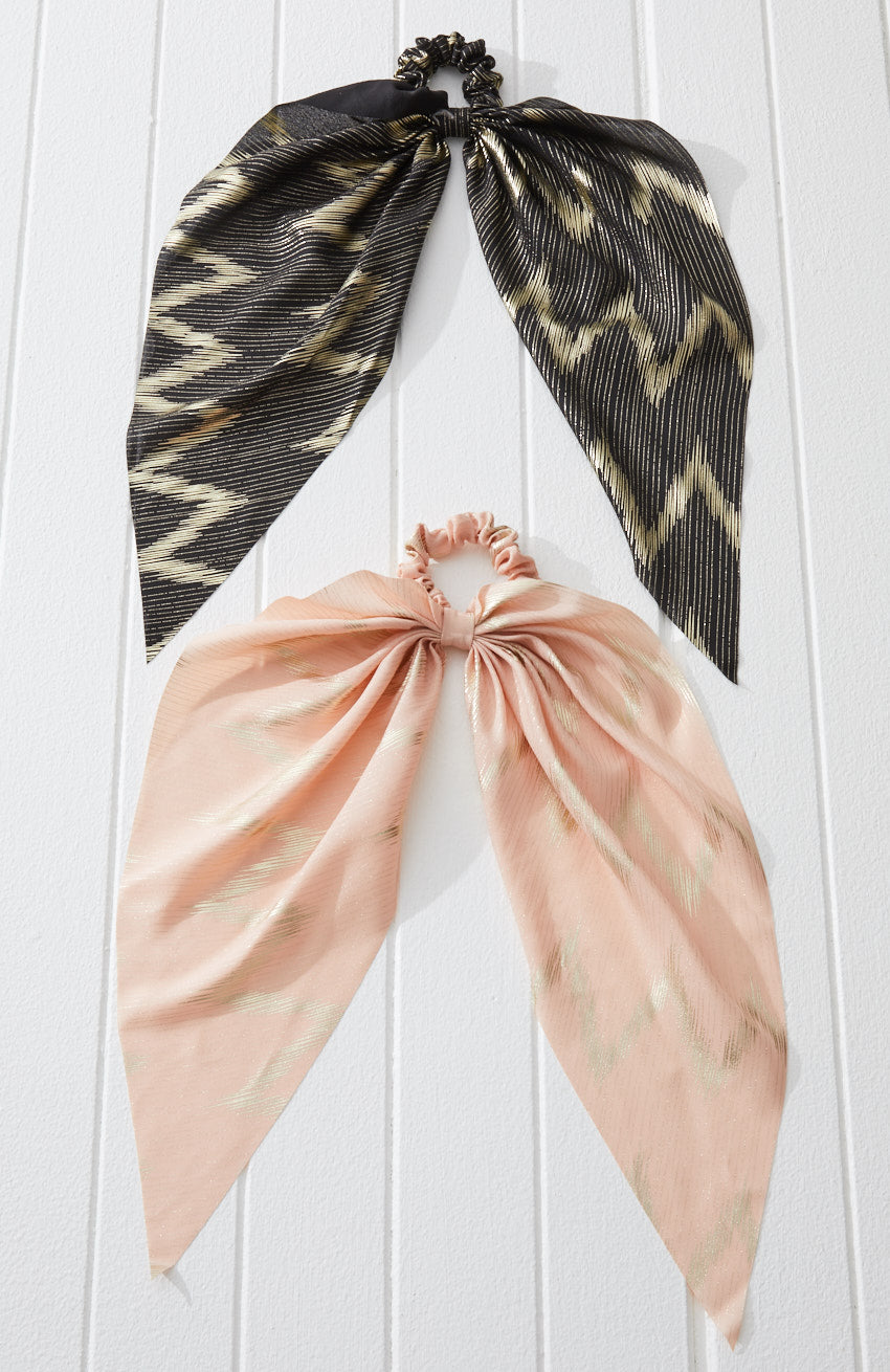 Gold Striped Metallic Long Scarf Scrunchie Hair Tie 2 Pack