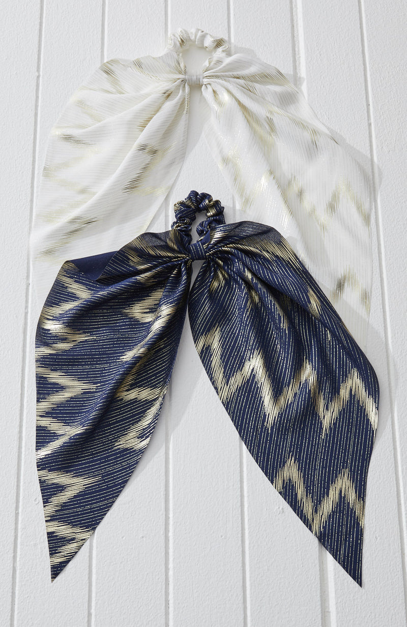 gold chevron metallic stripe scarf scrunchie hair tie set
