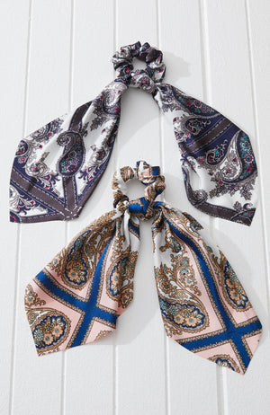 boho paisley satin scarf scrunchie hair tie set