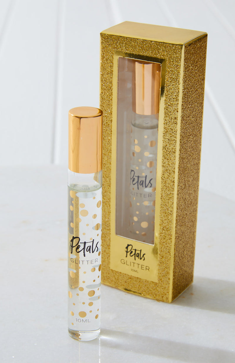 mini roll-on petals perfume gold glitter gift box