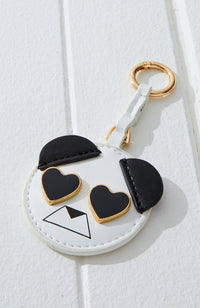 animal face pastel vegan leather mirror keyring