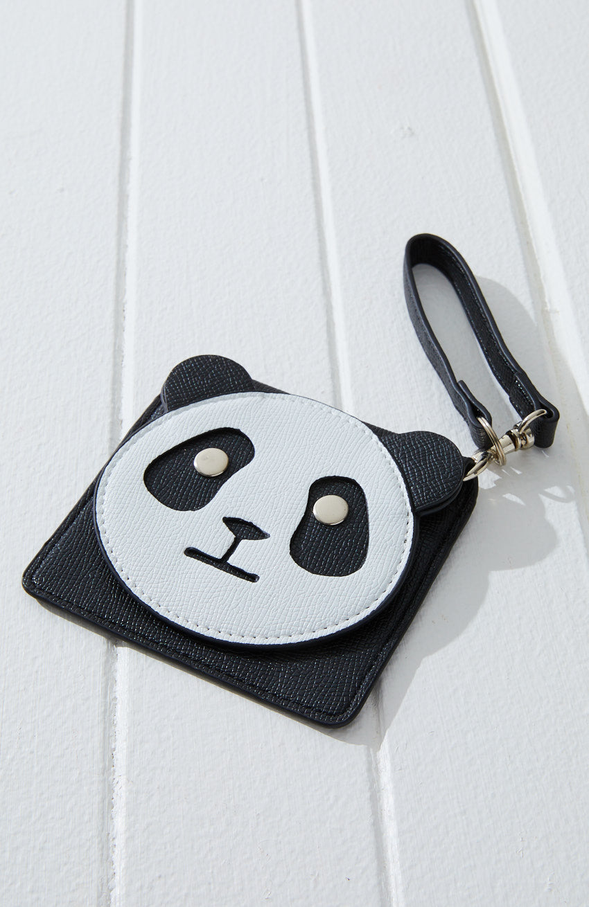 panda vegan leather coin purse pouch keyring