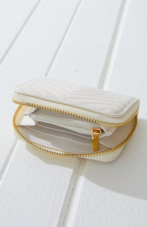 Chevron Quilted Pastel Vegan Leather Mini Wallet