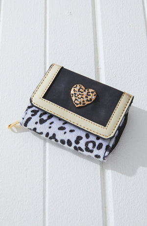 leopard vegan leather heart mini wallet