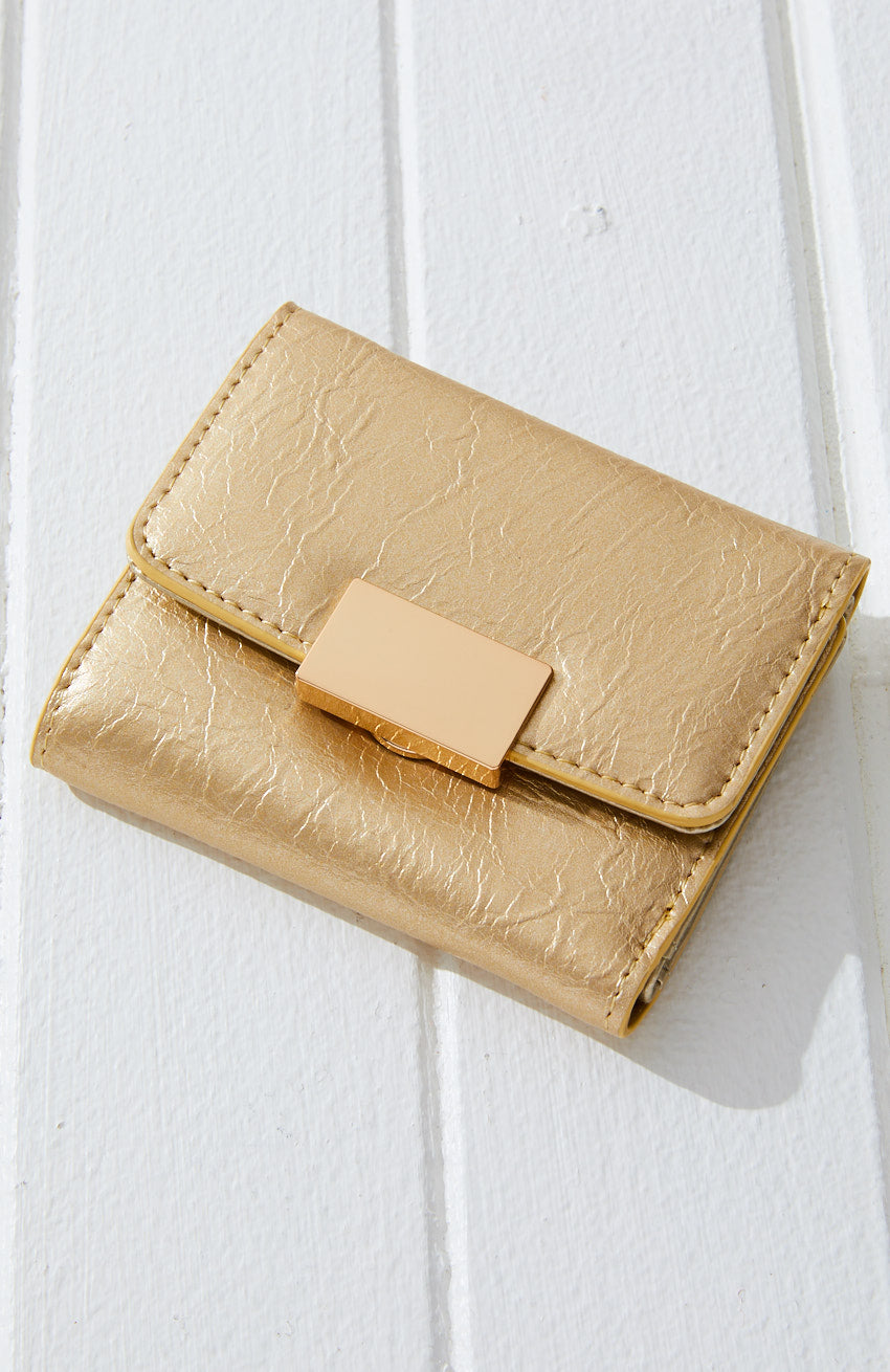 gold lock pastel vegan leather minimal mini wallet