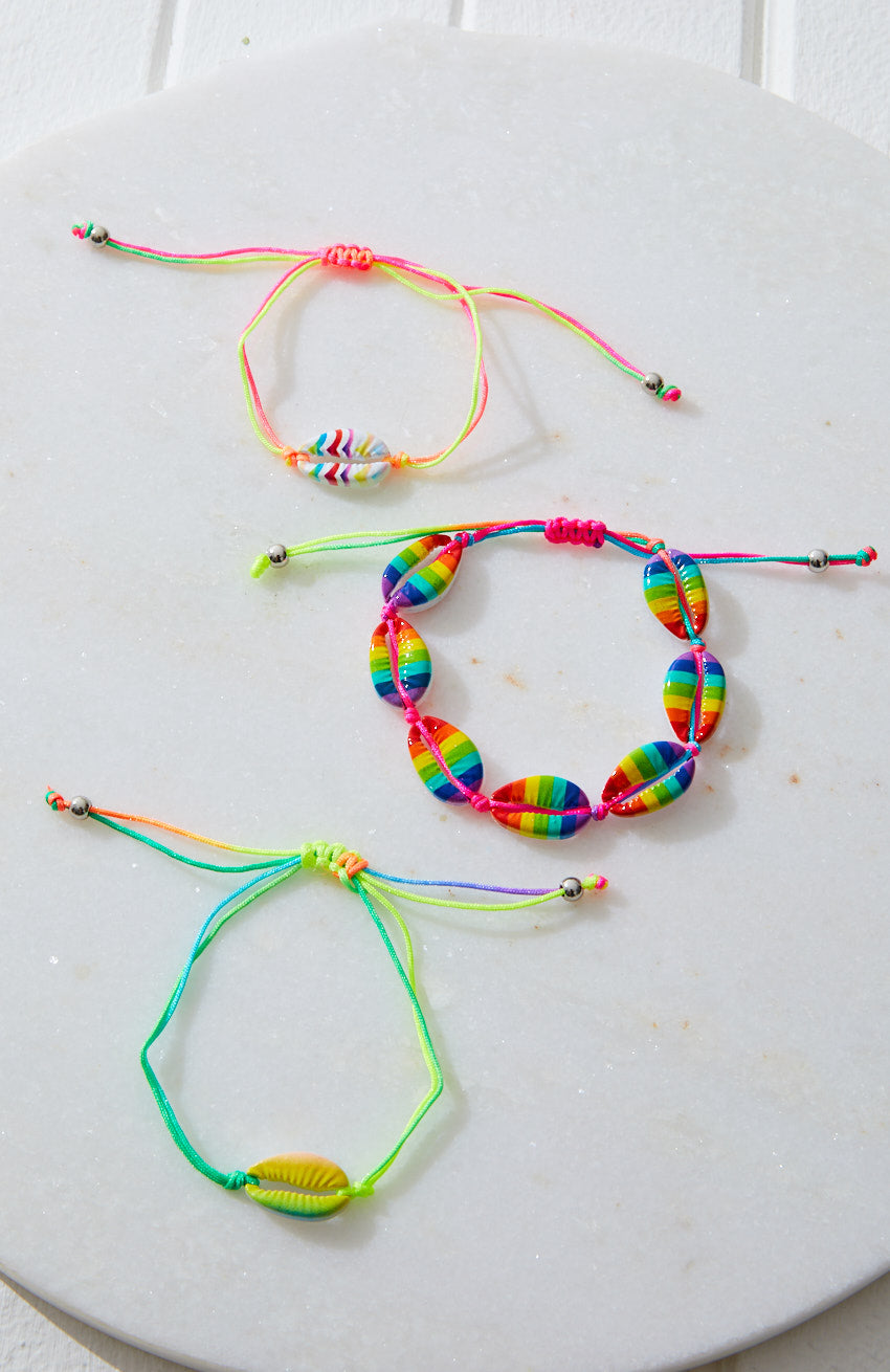 Fluro Rainbow Puka Cowrie Shell Braided Bracelet 3 Pack