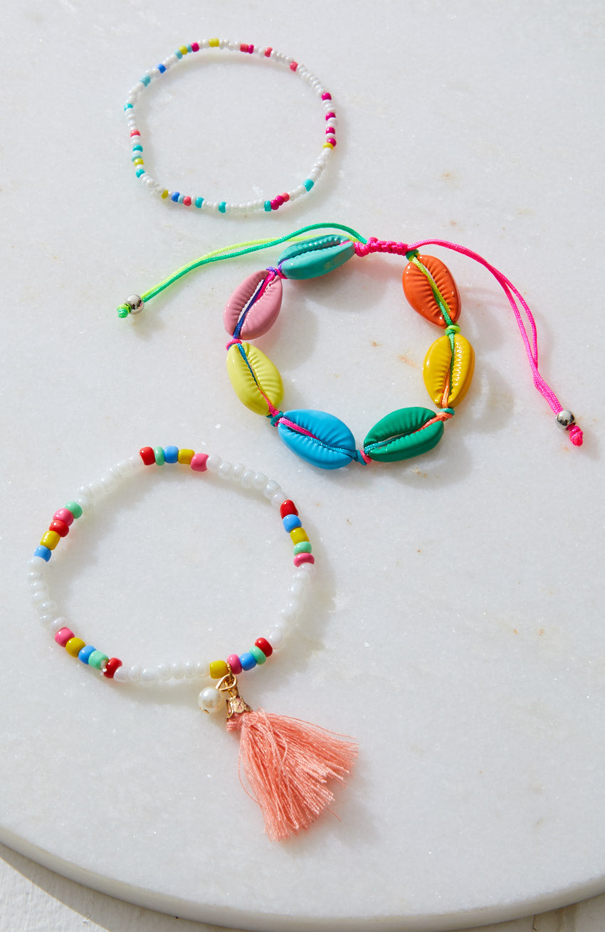 Rainbow Surf Puka Cowrie Shell Braided Bracelet 3 Pack