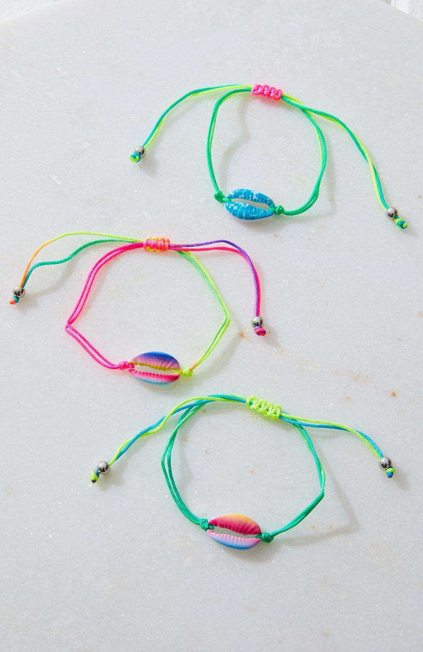 Fluro Puka Cowrie Braided Friendship Bracelet 3 Pack