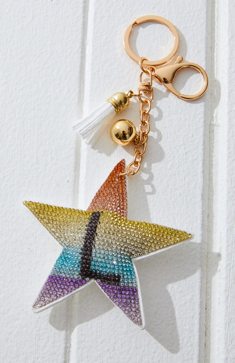 Rainbow Striped Star Initial Rhinestone Crystal Keyring
