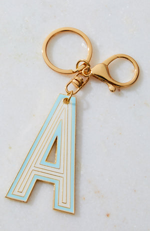 striped initial letter monogram keyring