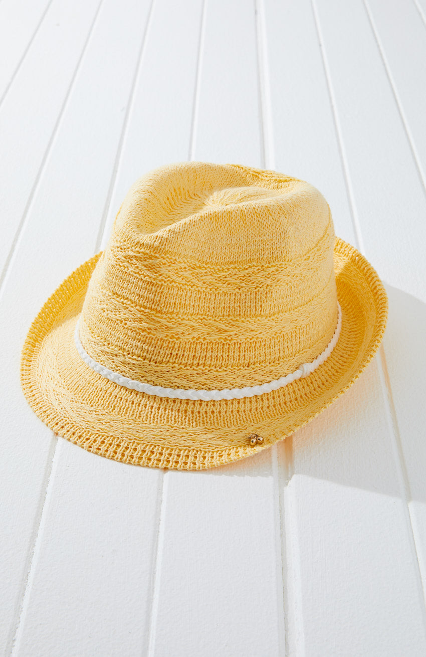 marley yellow braided fedora hat
