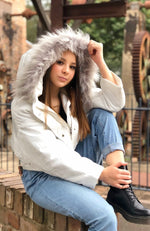 willow white hooded faux fur puffa jacket