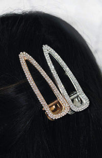 diamond crystal gold metallic vintage party hair clip set