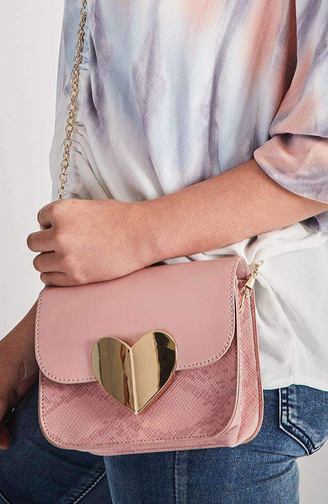 suede snake heart bag