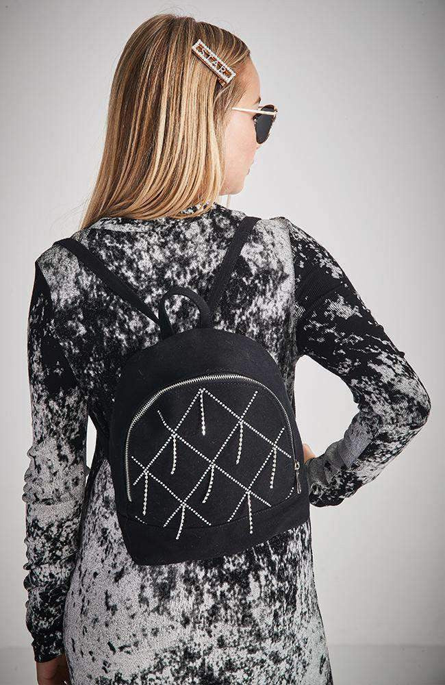 diamond denim backpack