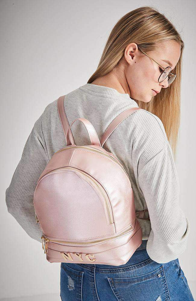 nyc embellished metallic vegan leather backpack