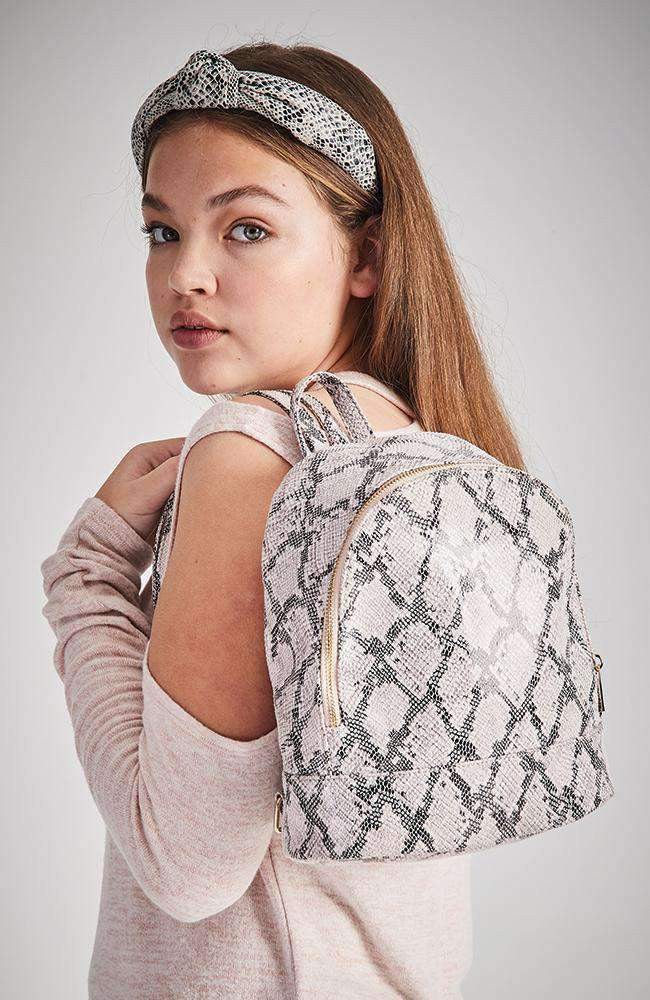 pink snake vegan leather backpack