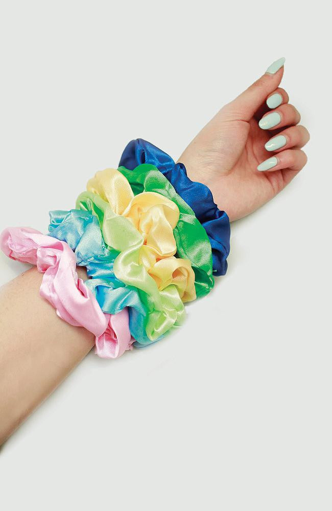 rainbow satin scrunchie set