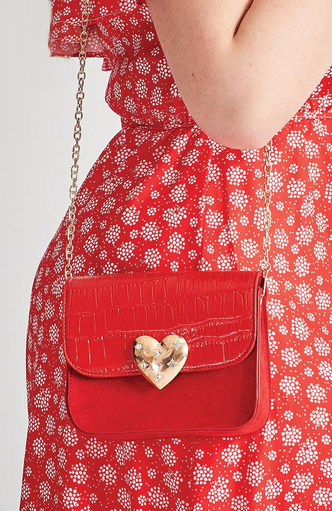 red croc suede diamond heart vegan crossbody party bag