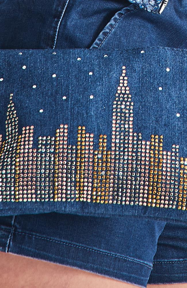 city star studded nyc skyline denim pouch crossbody bag