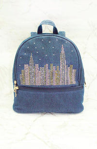 city star studded nyc skyline denim backpack