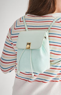tiffany suede vegan leather mini flap party backpack