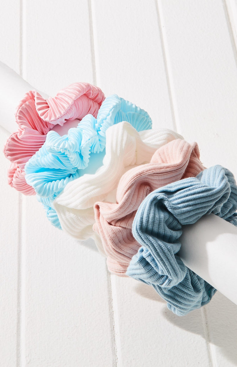 Pleated Rainbow Scrunchies Hair Tie Collection