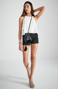 metallic sequin tassle pouch crossbody party bucket bag