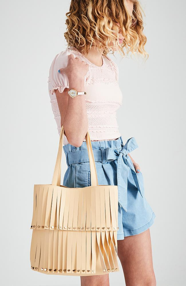 fringe pastel vegan leather heart studded shoulder tote bag