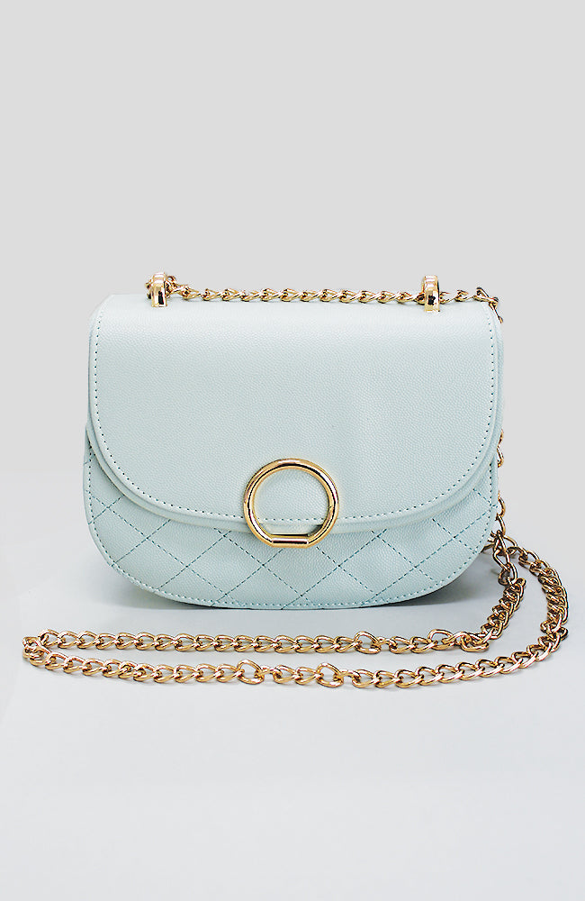 circle lock quilted vegan leather chain party bag
