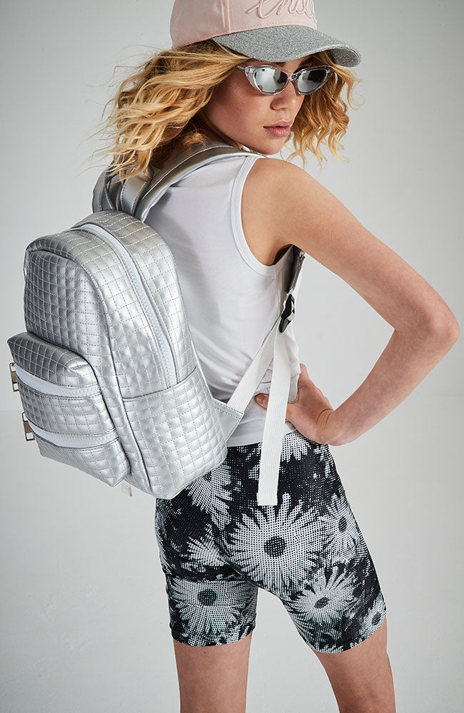 new york quilted embossed vegan leather backpack