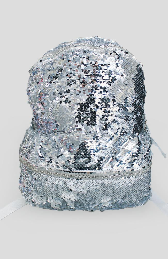 kailopi silver sequin metallic backpack