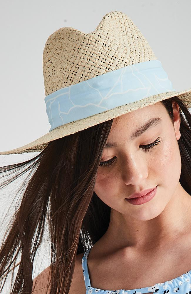 ellie natural straw blue boho wide brim hat