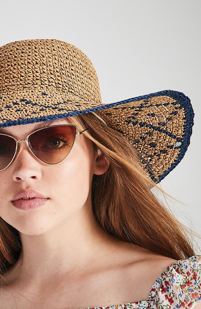 blue braided boho natural straw wide brim hat