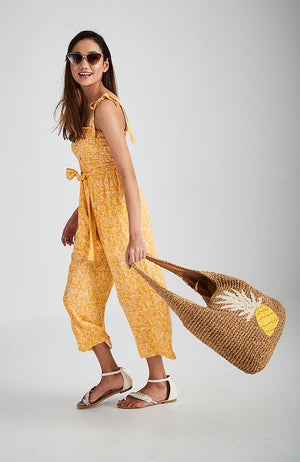 pineapple straw oversized slouchy handmade beach tote bag