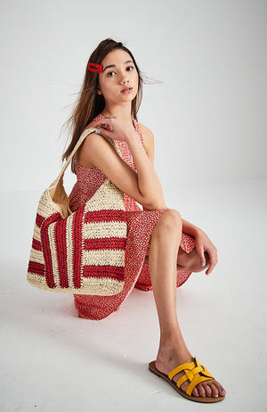 summer striped straw oversized handmade beach tote bag