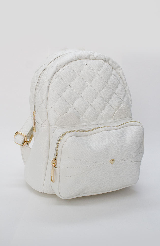 pastel cat quilted vegan leather party backpack