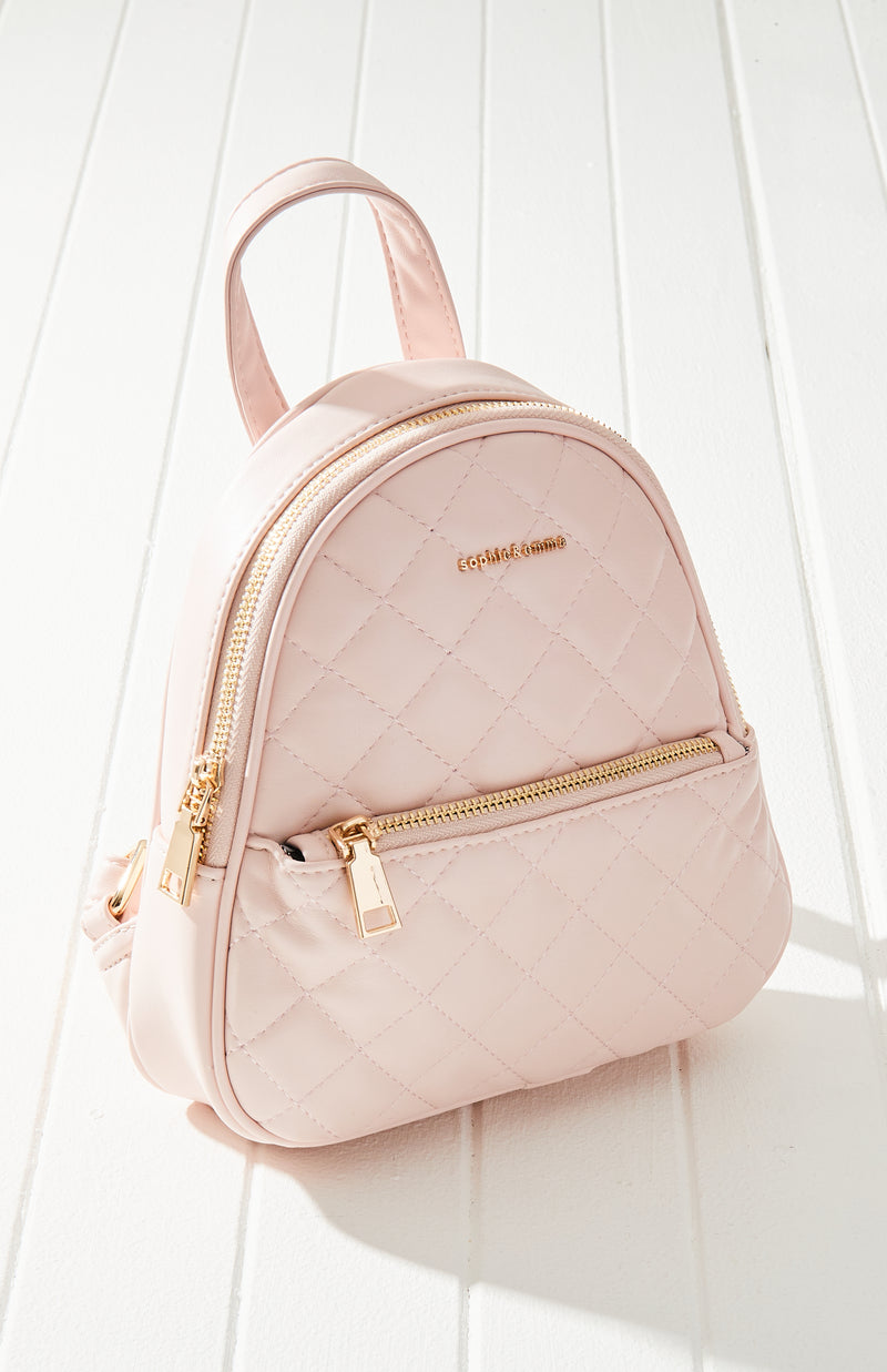 pastel quilted vegan leather mini backpack