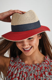 french striped classic nautical straw fedora hat