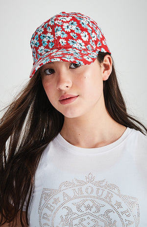 goldie red floral boho baseball cap