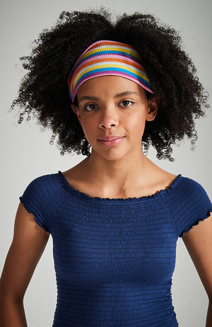 rainbow striped retro seventies twist headwrap headband