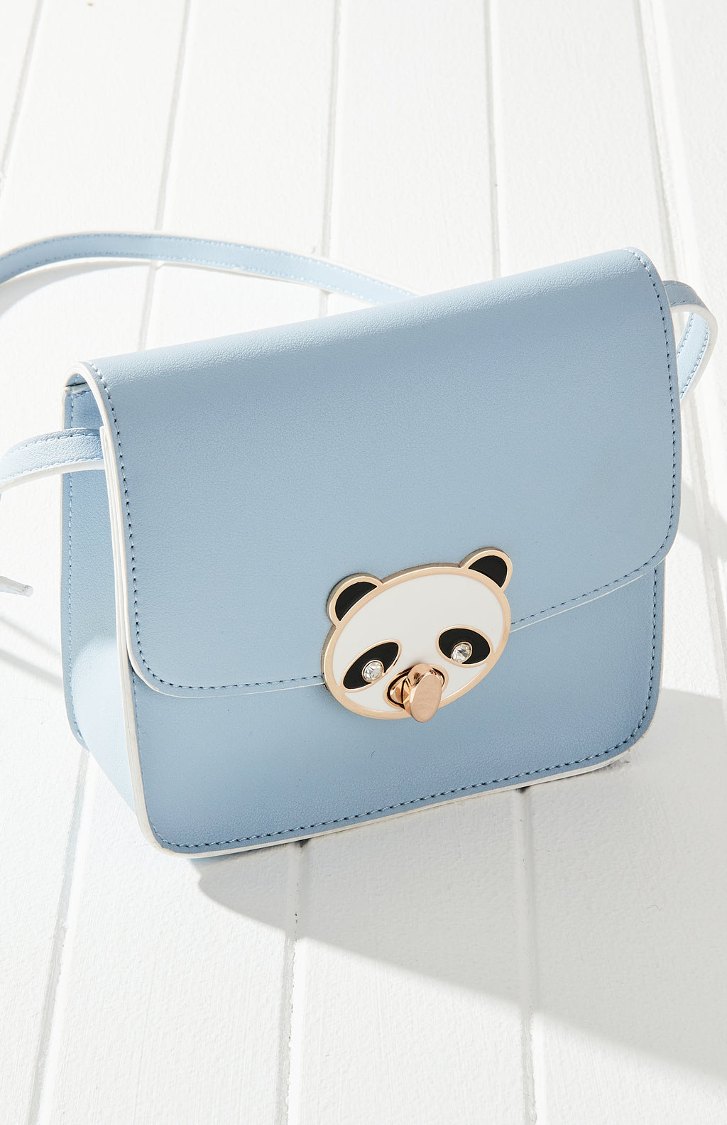 panda lock blue vegan leather crossbody bag