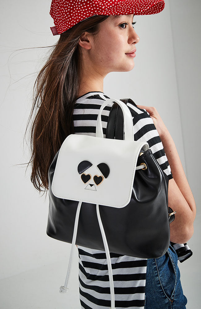 animal face pastel vegan leather flap backpack