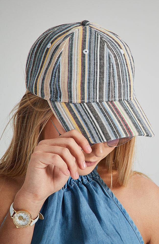 cass rainbow striped linen boho baseball cap